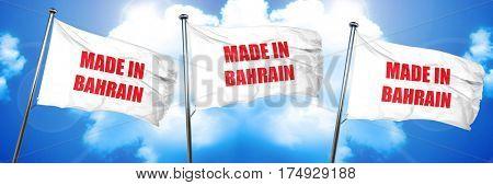 Made in bahrain, 3D rendering, triple flags