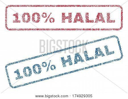 100 Percent Halal text textile seal stamp watermarks. Blue red fabric vectorized texture. Vector tag inside rounded rectangular shape. Rubber sticker with fiber textile structure.