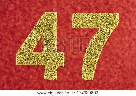 Number forty-seven yellow color over a red background. Anniversary. Horizontal