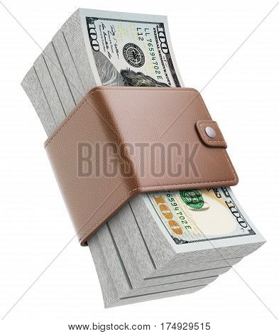 Stacks of new one hundred dollars banknotes in XXL wallet - 3D illustration