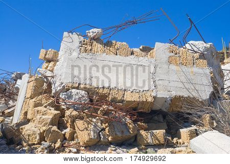 Ruins of desolate home in Crimea .