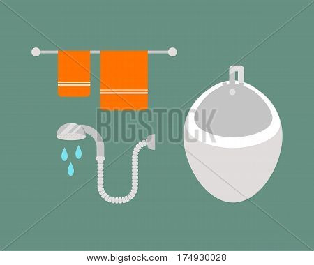 Bathroom icons colored set with process water savings symbols hygiene bidet and clean household washing cleaning beauty dryer vector illustration. Flat interior of wash place concept design.