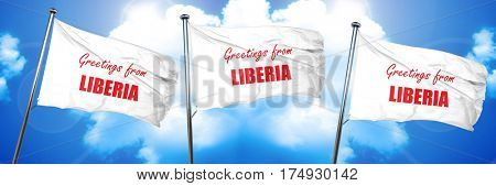 Greetings from liberia, 3D rendering, triple flags