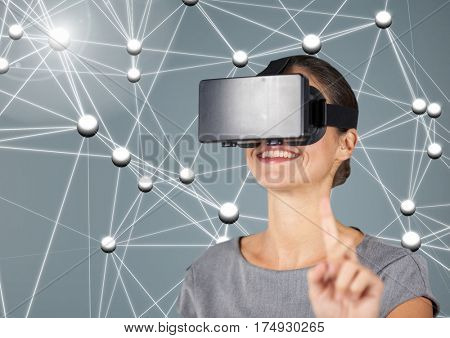 Digitally generated image of smiling woman using virtual reality headset