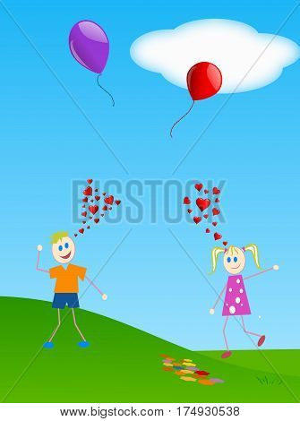 Love at first sight between two children losing a balloon