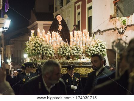 Badajoz, Spain - March 25, 2016: Easter Week (semana Santa), Nazarene Processions, Celebrations Of I