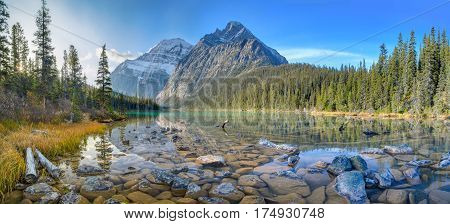 Mount Edith Cavell Reflection on Cavell Lake, Jasper, Canadian Rockies