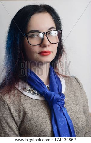 Girl With Glasses On A White Background, Hipster Glasses,