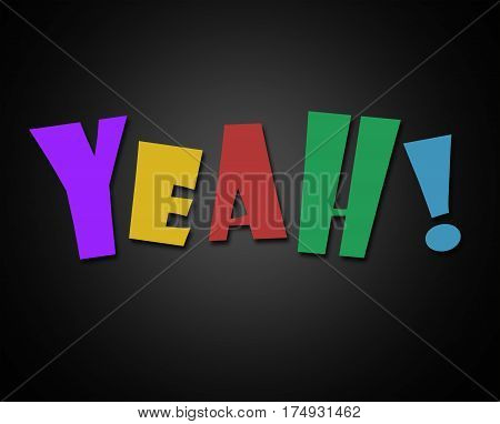 yeah in colorful letters on black background illustration