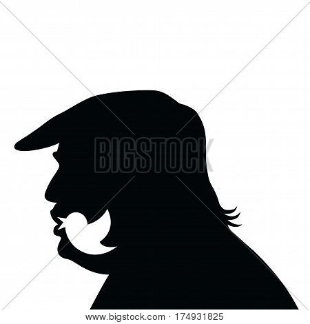Donald Trump Social Media Updates. Vector Silhouette Icon. March 7, 2017