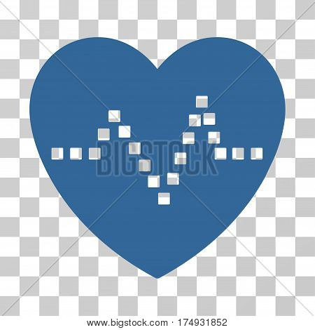 Heart Pulse icon. Vector illustration style is flat iconic symbol cobalt color transparent background. Designed for web and software interfaces.