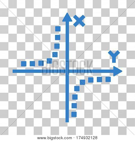 Hyperbola Plot icon. Vector illustration style is flat iconic symbol cobalt color transparent background. Designed for web and software interfaces.