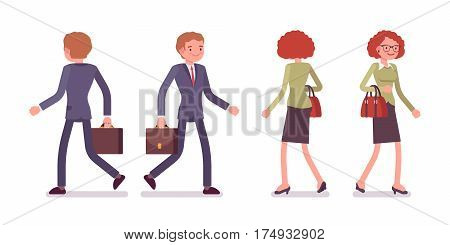Set of young smiling male and female office workers in a smart formal wear, walking poses, fellow employees, colleagues, on the way to work, full length, front and rear view isolated, white background