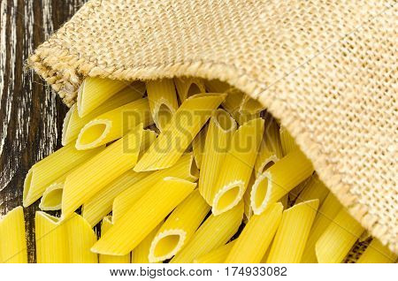 Spilled Pasta From Durum Wheat. Italian Cuisine Healthy Eating