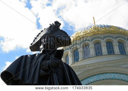 Kronstadt Russia - July 14 2016: Part of monumen to Russian Admiral of the Sea of the 18th century Fyodor Ushakov. Located close to the Naval Cathedral of St. Nicholas.