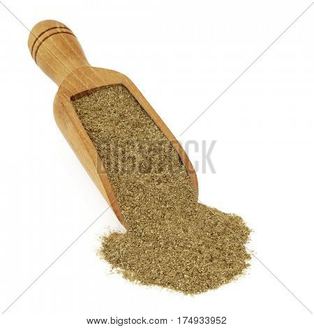 Gymnema sylvestre gurmar herb powder in a wooden scoop over white background. Used in ayurveda herbal medicine to help weight loss and as an appetite suppressant.