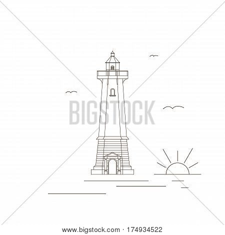 Lighthouse. Icon design trend in a linear fashion. The concept of navigation. Sun water Seagull. Isolated on a white background.The signal tower. Vector illustration.