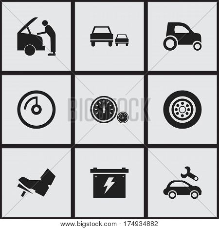 Set Of 9 Editable Car Icons. Includes Symbols Such As Tire, Treadle, Battery And More. Can Be Used For Web, Mobile, UI And Infographic Design.