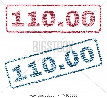 110.00 text textile seal stamp watermarks. Blue red fabric vectorized texture. Vector tag inside rounded rectangular shape. Rubber emblem with fiber textile structure.