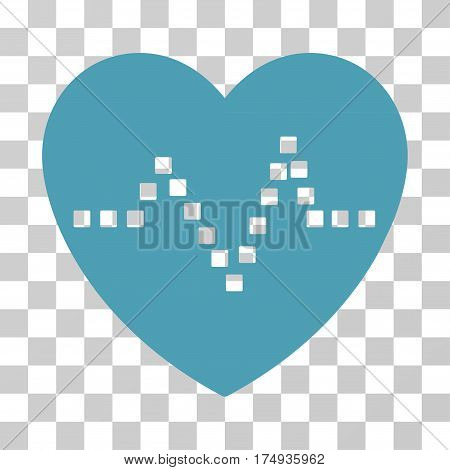 Heart Pulse icon. Vector illustration style is flat iconic symbol cyan color transparent background. Designed for web and software interfaces.