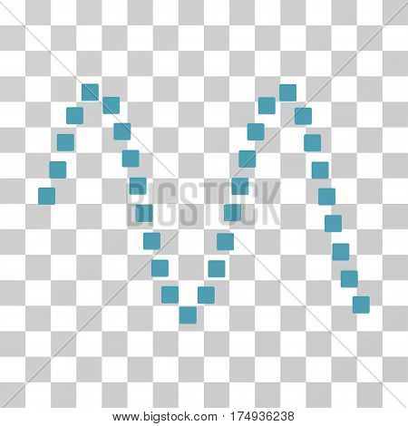 Sinusoid icon. Vector illustration style is flat iconic symbol, cyan color, transparent background. Designed for web and software interfaces.