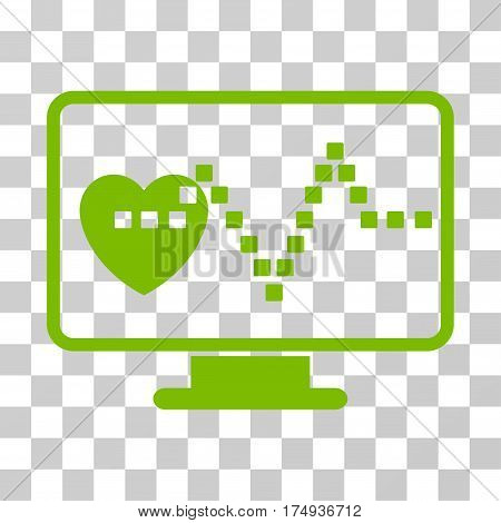 Cardio Monitoring icon. Vector illustration style is flat iconic symbol, eco green color, transparent background. Designed for web and software interfaces.