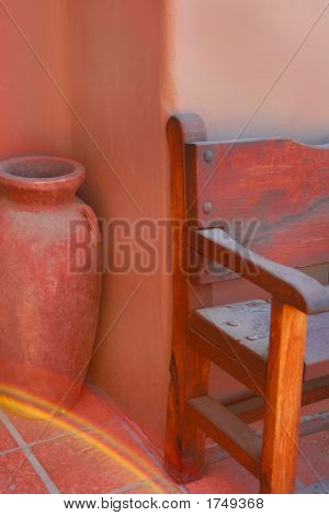 Monochromatic Pot And Wooden Bench