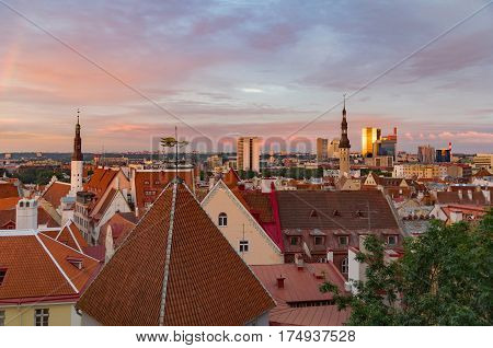 Wonderful sunset view on Old Town and modern buildings Tallinn Estonia