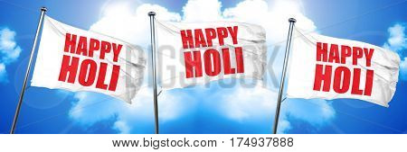 happy holi, 3D rendering, triple flags