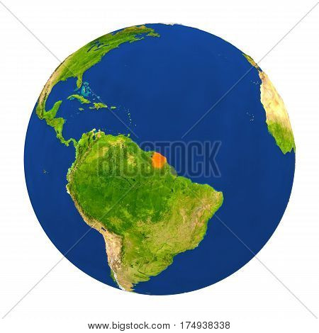 French Guiana Highlighted On Earth