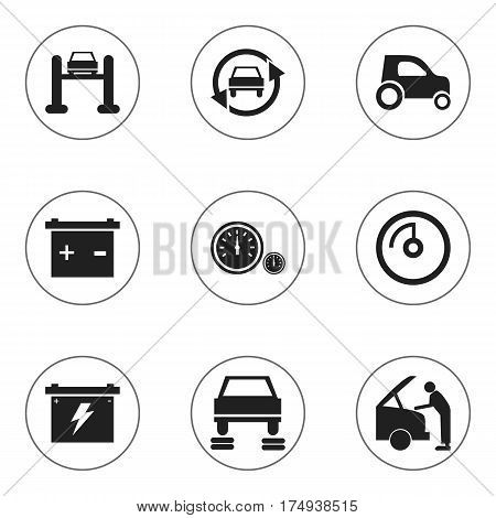 Set Of 9 Editable Car Icons. Includes Symbols Such As Tuning Auto, Auto Repair, Vehicle Car And More. Can Be Used For Web, Mobile, UI And Infographic Design.