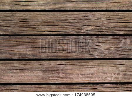 Aged wood background. Natural wood texture with horizontal lines. Wooden background for banner. Timber texture closeup. Horizontal wooden planks of floor backdrop photo. Natural material for banner
