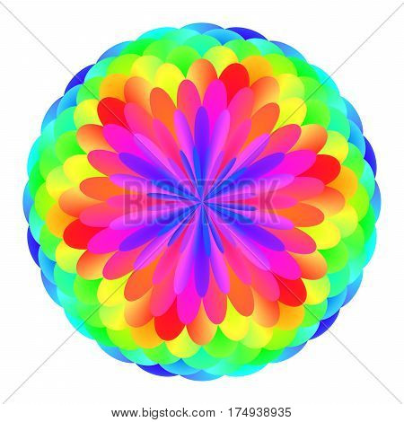Abstract mandala in rainbow colors, Flower isolated on white background, Colorful bloom, Multicolor esoteric petal mandala