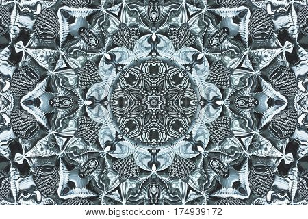 Computer generated illustration with abstract kaleidoscopic pattern.