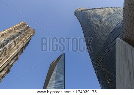 Shanghai, China - March 2, 2017: Shanghai Tower, Jin Mao Tower And Shanghai World Financial Center V