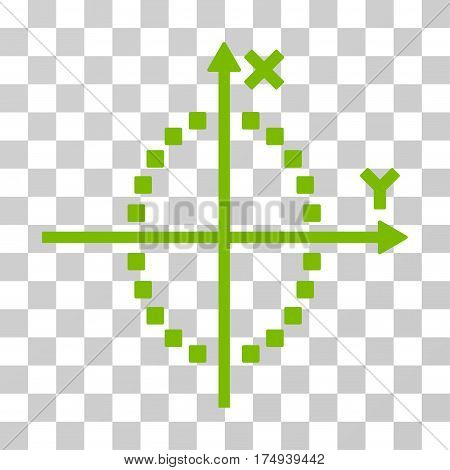 Ellipse Plot icon. Vector illustration style is flat iconic symbol, eco green color, transparent background. Designed for web and software interfaces.