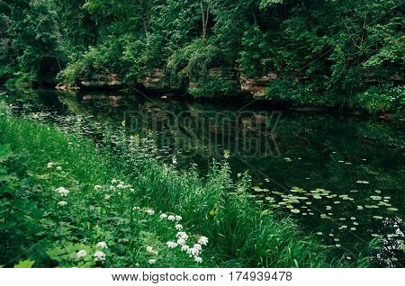 Calm river with picturesque riverside reflection on water surface