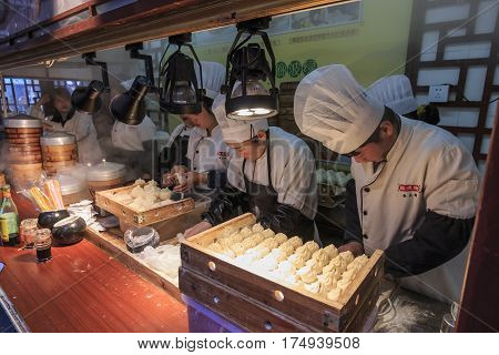 Shanghai, China - March 2, 2017: Chinese Restaurant In The City Temple Of Shanghai Preparing Steamed