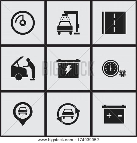 Set Of 9 Editable Vehicle Icons. Includes Symbols Such As Highway, Vehicle Wash, Speedometer And More. Can Be Used For Web, Mobile, UI And Infographic Design.