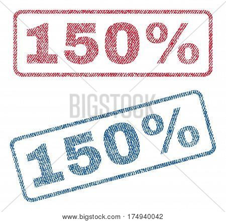 150 Percent text textile seal stamp watermarks. Blue red fabric vectorized texture. Vector caption inside rounded rectangular shape. Rubber emblem with fiber textile structure.