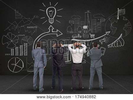 Digitally generated image of thoughtful bussiness professionals looking at blackboard