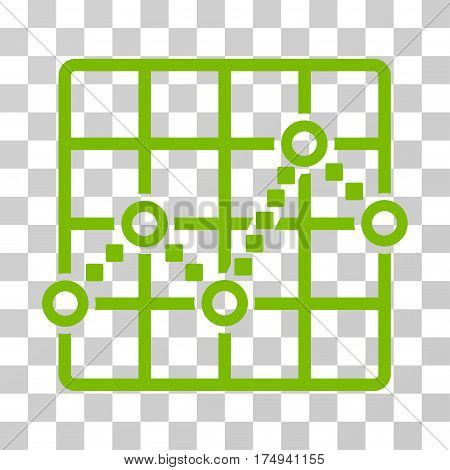 Line Plot icon. Vector illustration style is flat iconic symbol, eco green color, transparent background. Designed for web and software interfaces.
