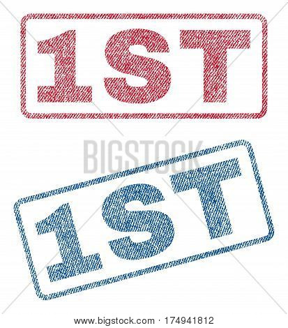 1st text textile seal stamp watermarks. Blue red fabric vectorized texture. Vector caption inside rounded rectangular banner. Rubber sign with fiber textile structure.