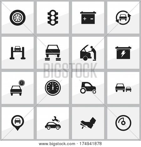 Set Of 16 Editable Vehicle Icons. Includes Symbols Such As Auto Repair, Tire, Treadle And More. Can Be Used For Web, Mobile, UI And Infographic Design.
