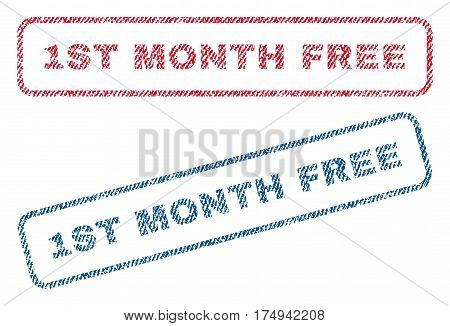 1st Month Free text textile seal stamp watermarks. Blue red fabric vectorized texture. Vector caption inside rounded rectangular banner. Rubber sign with fiber textile structure.