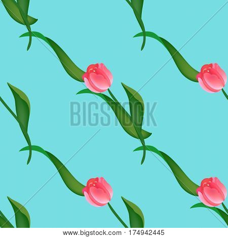 Seamless floral pattern with red and pink tulips on green. Endless background for your design, romantic greeting cards, announcements, fabrics, warpping paper. Vector illustration