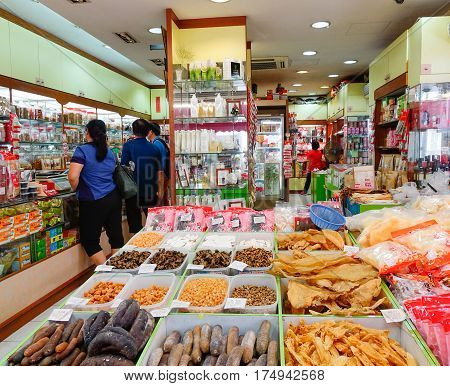People At Food Mart In Singapore