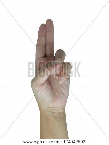 Hand with two fingers up , victory symbol.