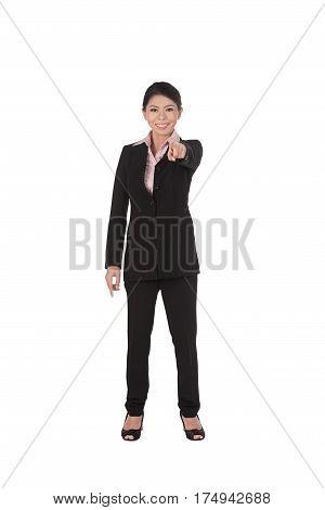 Beautiful Asian Business Woman Pointing At Camera