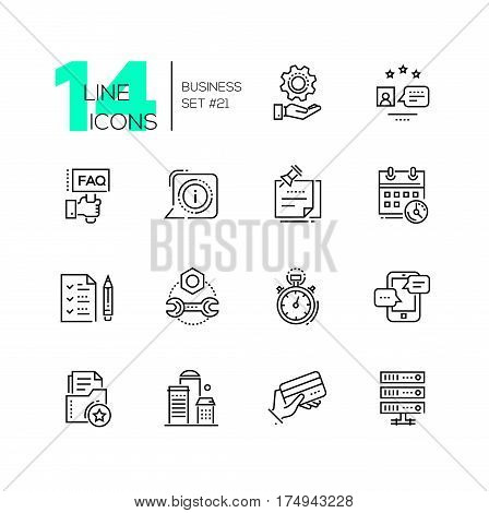 Business - monochromatic vector modern single line icons set. Gear, faq, message, calendar, clip note, building, drive, timer, tablet, checklist, credit card.